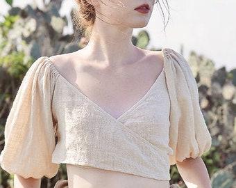 Linen Tops Women - Boho Tops Linen - Summer Shirts Women - Wrap Shirt