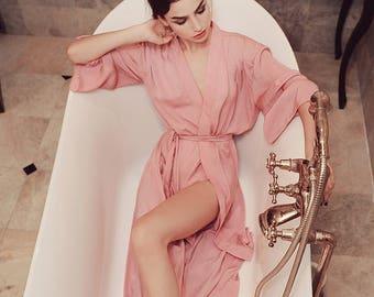 Lelasilk Luxury Long Silk Robe  Bridal Silk Robe  Bridesmaids Robe  Wedding  Dressing Gown  Silk Kimono  Lingerie  Gift for her 4b9945ad9