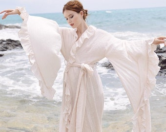 Kimono Robe Women - Linen Gauze Long Robe - Floor Length Gown - Long Dressing Gown - Long Sleeve Wedding Robe