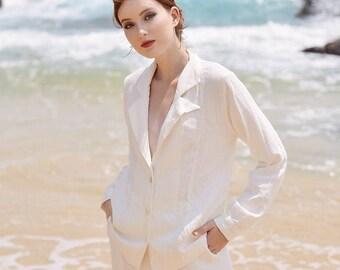 Linen Jacket White - Linen Blazer Women - Linen Cardigan Tops Coat - Linen Suit Women