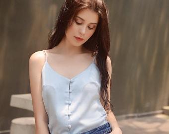 d0ff9118457d9 Button Silk Camisole  Blue Silk Tank  Women Silk Tank  Blue Camisole   Summer Top