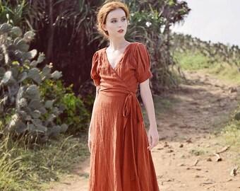 Linen Gauze Wrap Dress - Wrap Dress Women - Wrap Dress Maxi - Linen Dress Summer - Linen Gauze Dress