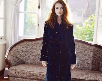 Womens Velvet Jacket - Warm Velvet Robe - Quilted Jacket Women