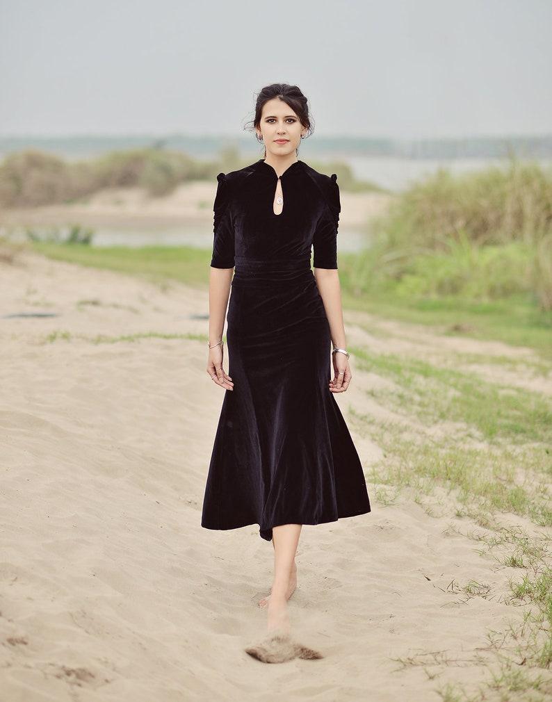 1930s Style Clothing and Fashion Velvet Vintage Style Dress - Women Velvet Dress - Velvet Formal Dress $150.80 AT vintagedancer.com