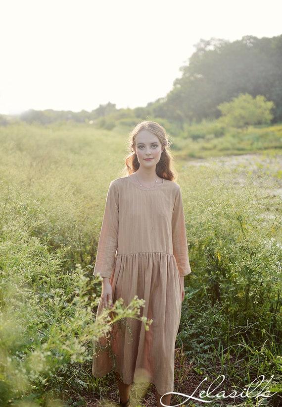 Dress with Pockets Loose Linen Dress Organic Cotton Linen Cotton Dress