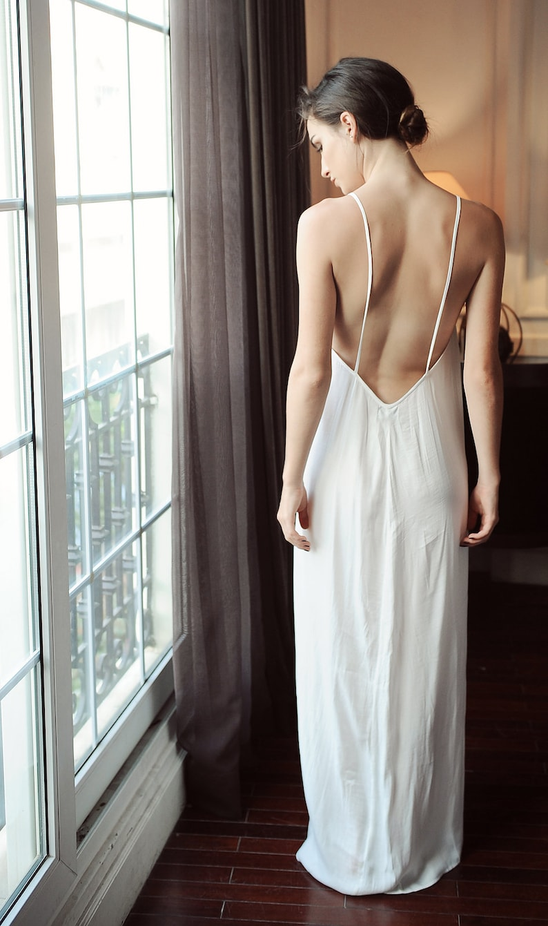 30e3ddc723f 100 % Pure silk sexy low back  Backless maxi slip dress for