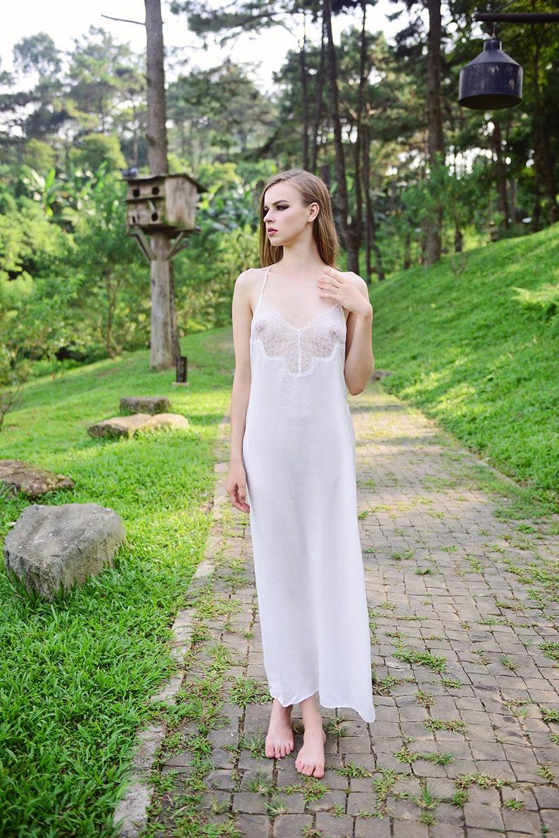 12e599280347f LELAsilk Lace Silk Maxi Nightgown/ Maxi Beach Dress/ Bridal | Etsy