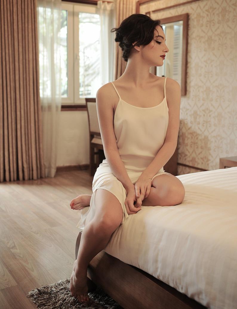 da1df816dd Lelasilk Ivory Silk Maxi Dress  SideSplit Dress  Comfy