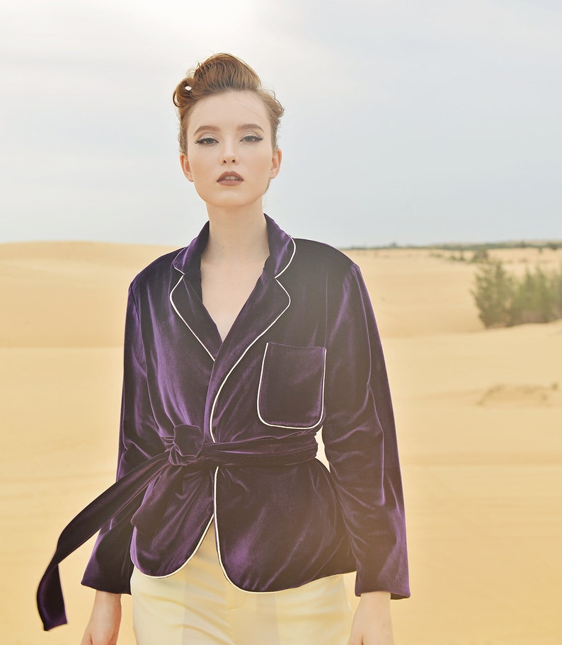 Vintage Coats & Jackets | Retro Coats and Jackets Jacket for Women - Long Sleeve - Velvet Wrap Cardigan - Winter Velvet Coat $100.60 AT vintagedancer.com