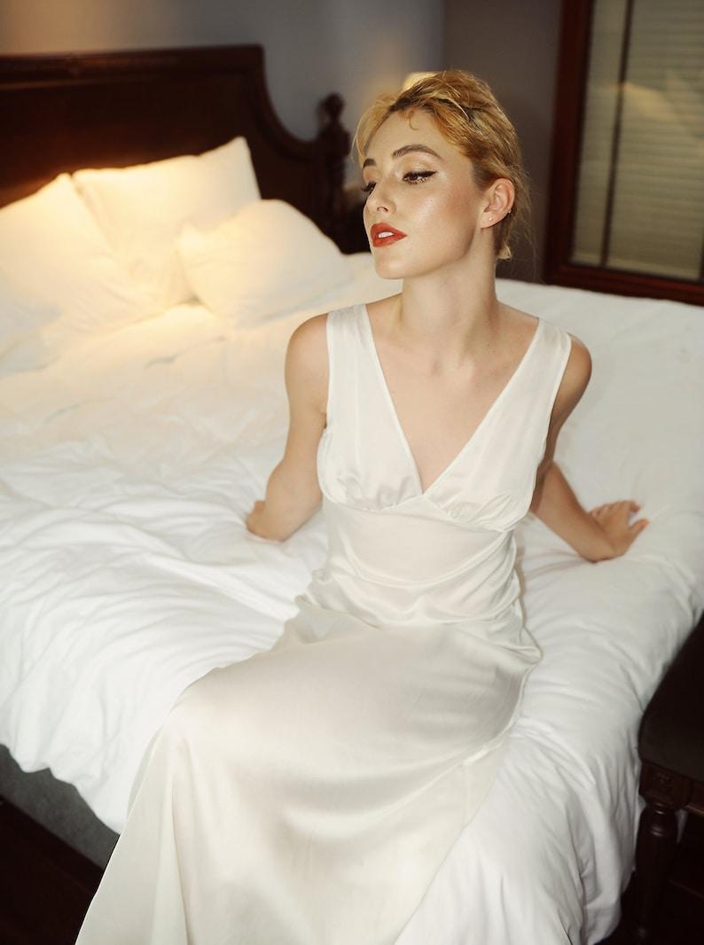 d682497cd1 Luxury 100% Pure silk night gown  Wedding Dress  Bridesmaids