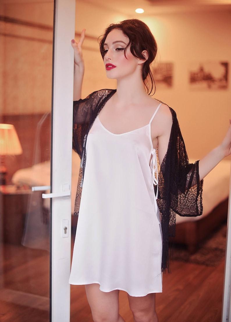 954b8188c8 String Tie Dress  Ivory Silk Slip  LoungeWear  Cute Sleepwear