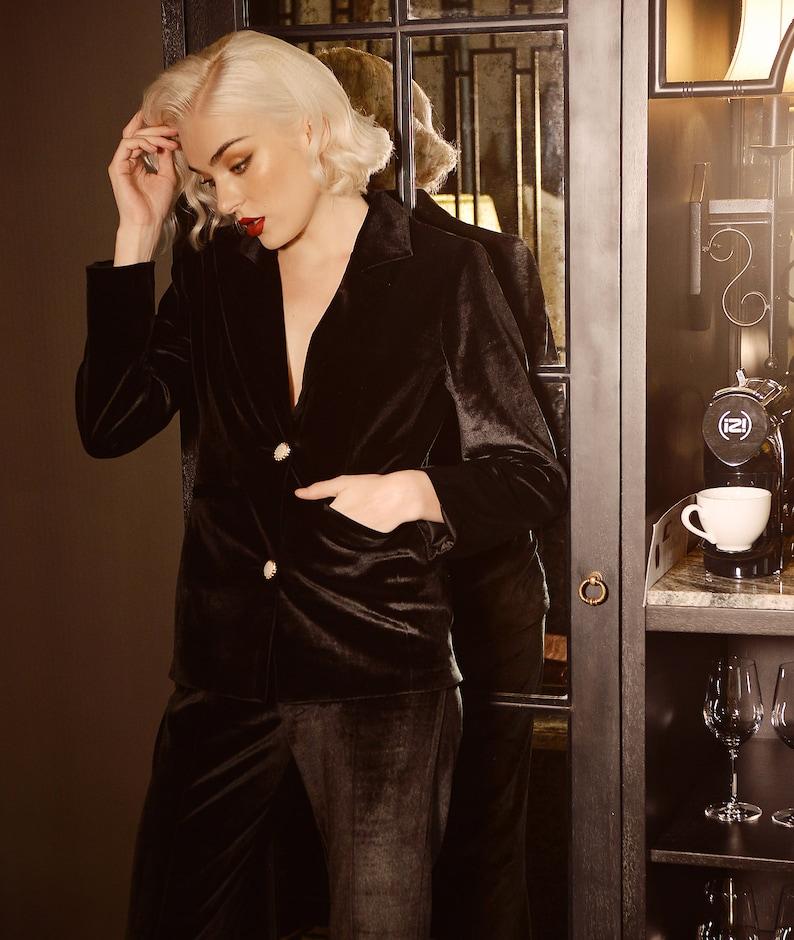 1930s Outfit Inspiration – Women's Clothing Ideas Women Blazer Jacket - Black Velvet Blazer - Black Vest Blazer $100.81 AT vintagedancer.com
