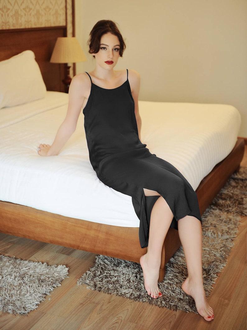 7ecc8999d9 Lelasilk Romantic Silk Slip  Super smooth Black Silk Dress