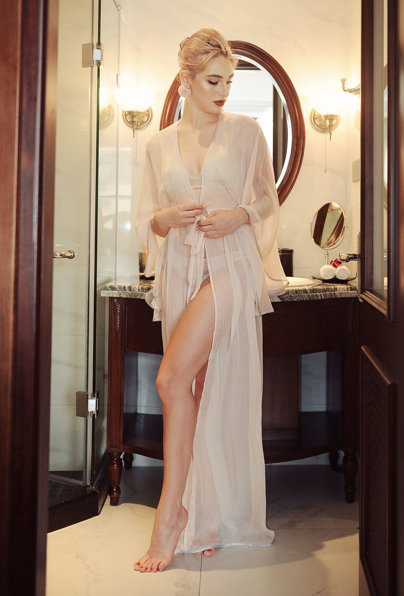 82ab91f71c LelaSilk Blush Floor-Length Gown  Robe For Brides  Sexy Robes