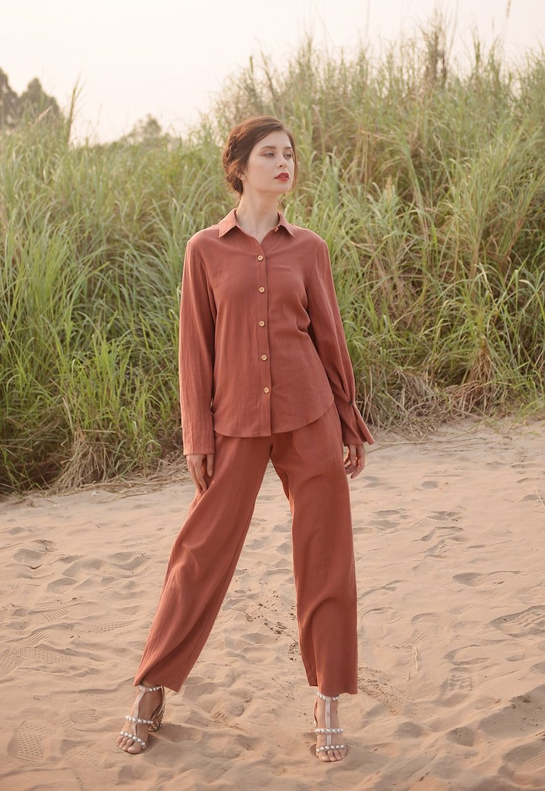 30s Outfits, Ideas for Women Organic Cotton Pajamas - Women Cotton Pajamas - Women Pajamas Set - Natural Clothing $56.60 AT vintagedancer.com