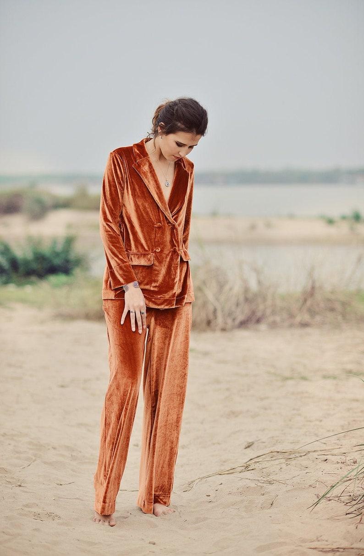 1920s Nightgowns, Pajamas and Robes History Pajamas Women - Winter Set - Velvet Suit Women - Winter Women PJs - Velvet Women Set $151.60 AT vintagedancer.com