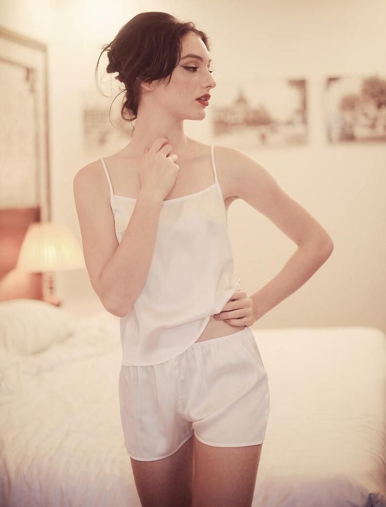 Pajamas Set Shorts  Women silk pajamas Set  Silk Sleepwear   5e8ad7c41