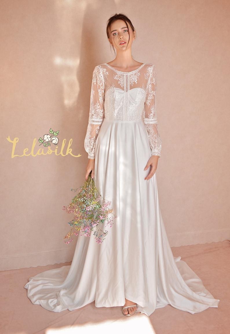 1940s Style Wedding Dresses | Classic Wedding Dresses Modern Lace White Dress - Long Train Silk Dress - Silk Wedding Dress $660.00 AT vintagedancer.com