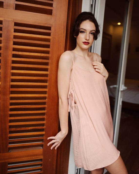 da54c0b5ee String Tie Dress  Silk Slip  Little Black Dress  Cute