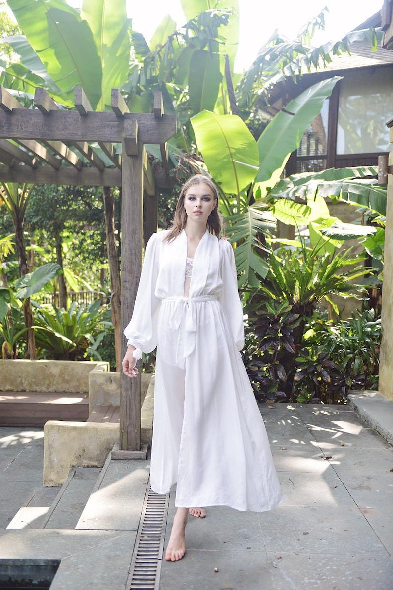 59f311e068 Puff Sleeves Silk Robe  For Women  Bridal Robe  Long Silk