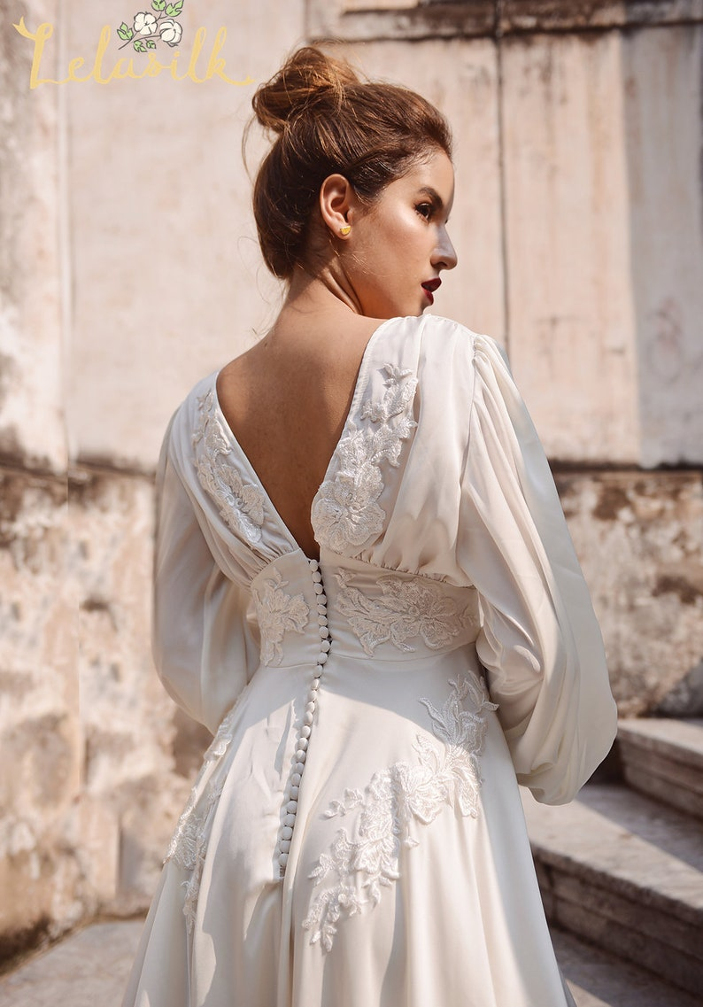 Victorian Wedding Dresses, Shoes, Accessories Silk Wedding Dress - Embellished Lace Wedding Dress - Ivory Wedding Dress $680.00 AT vintagedancer.com