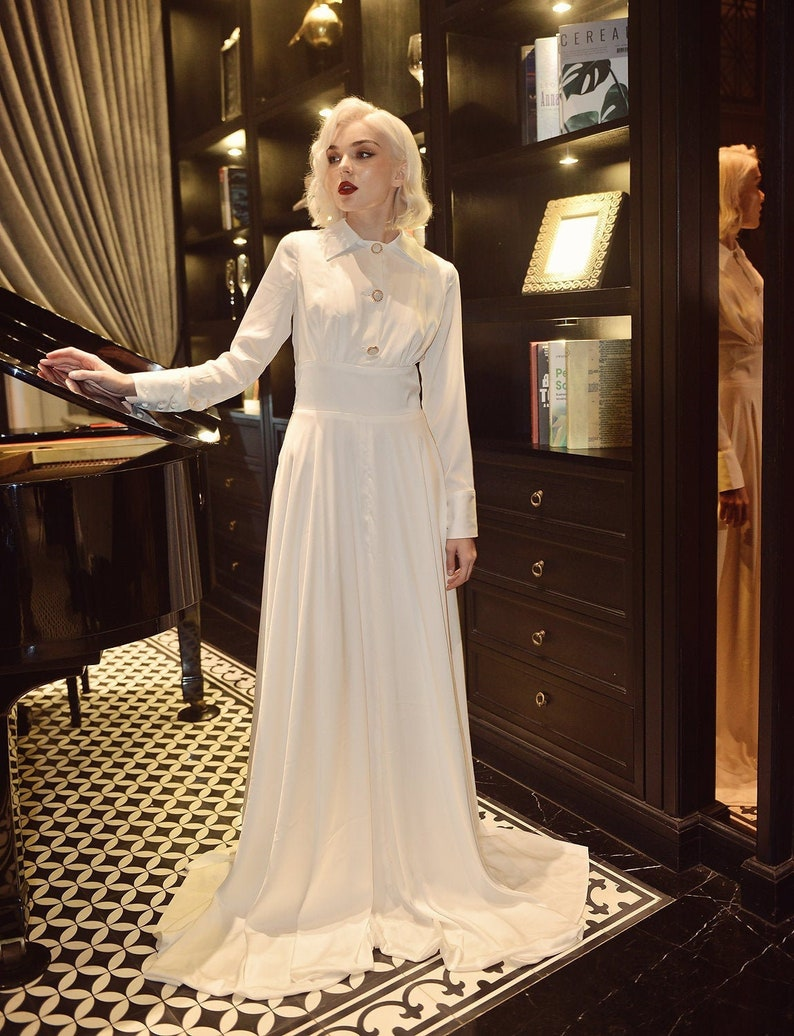 1930s Style Wedding Dresses | Art Deco Wedding Dress Modest Wedding Dress - Wedding Dress with Train - Bridal Dress with Train $680.00 AT vintagedancer.com