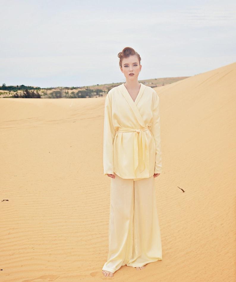 Vintage Nightgowns, Pajamas, Baby Dolls, Robes Long Sleeve Wrap Top - Women Silk Blouse - Long Silk Top $76.80 AT vintagedancer.com