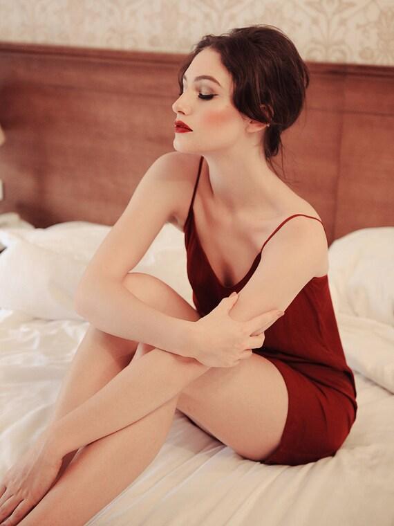 9f2ba79de2 Lelasilk Romantic Simple Silk Slip  Burgundy Slip  Bordeaux