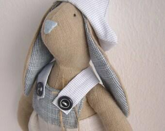 Rabbit style Tilda, rabbit farmer, tilda doll, tilda rabbit, tilda bunny, rag doll, doll, gift, interior, grey-blue,rabbit doll