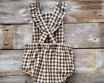 Baby Romper in Black Gingham 18 mos READY TO SHIP