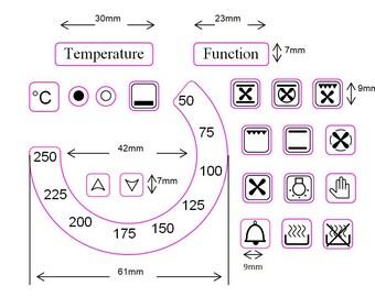 Bundle Aufkleber Set 36 Ofen Symbole 2 Backofen Temperatur Etsy