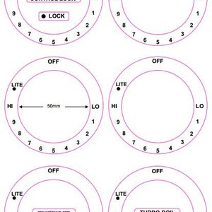 consisting of 6 dials marked Lo thru Hi in a clockwise direction American style cooker top decals