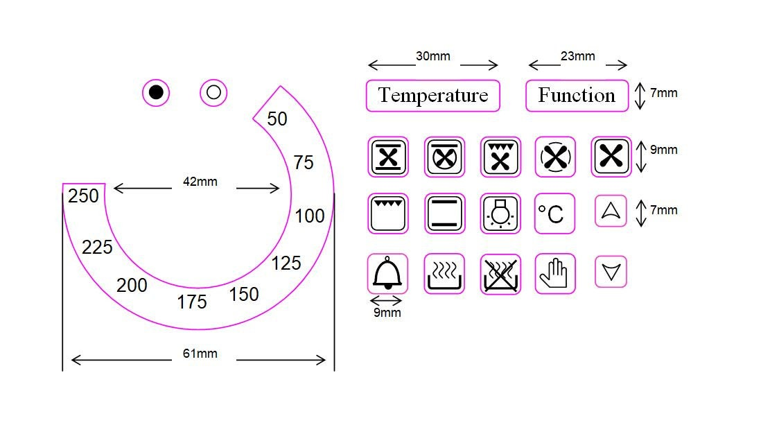 Temperature Dial With 17 Oven Symbols Etsy