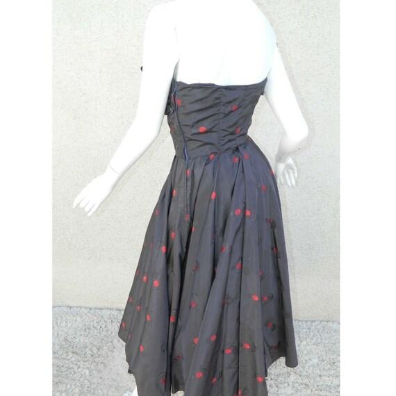 Rare CEIL CHAPMAN Dress Gown Blue Red Cherries Vi… - image 7