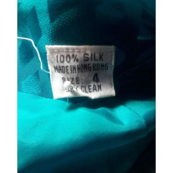 ALBERT NIPON Dress Turquoise 100% Silk Rhinestone… - image 8