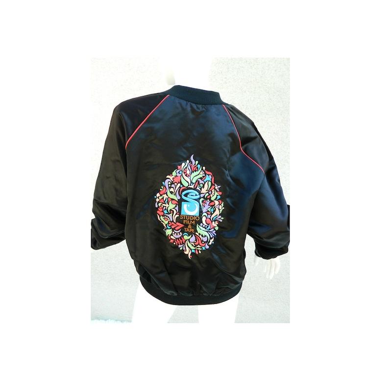 f0dd14049 Satin Bomber Jacket Floral Black Red Piping Movie Studio Monogram Rocco Sz  Large