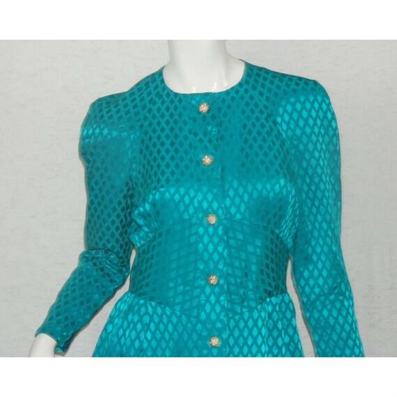 ALBERT NIPON Dress Turquoise 100% Silk Rhinestone… - image 6