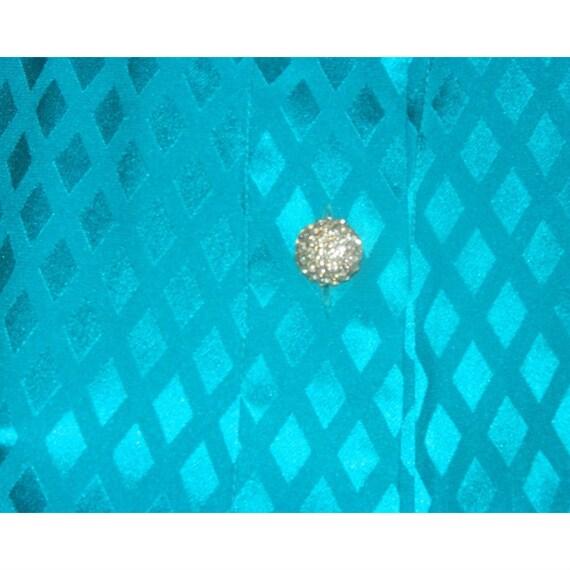 ALBERT NIPON Dress Turquoise 100% Silk Rhinestone… - image 4