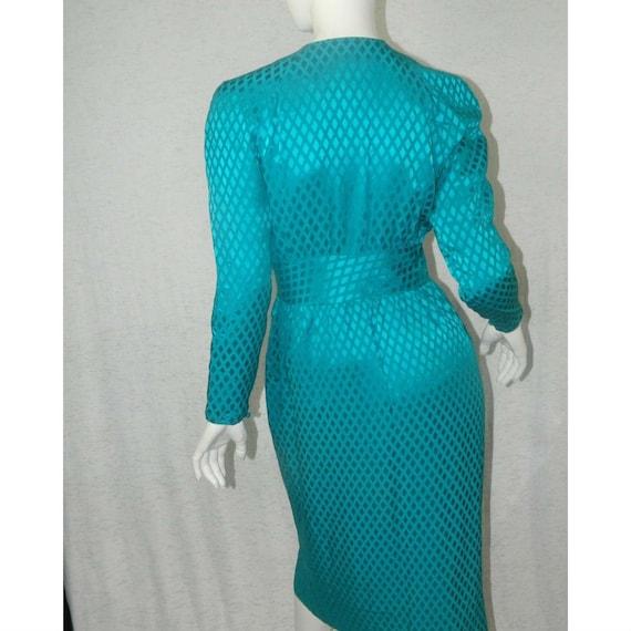 ALBERT NIPON Dress Turquoise 100% Silk Rhinestone… - image 2