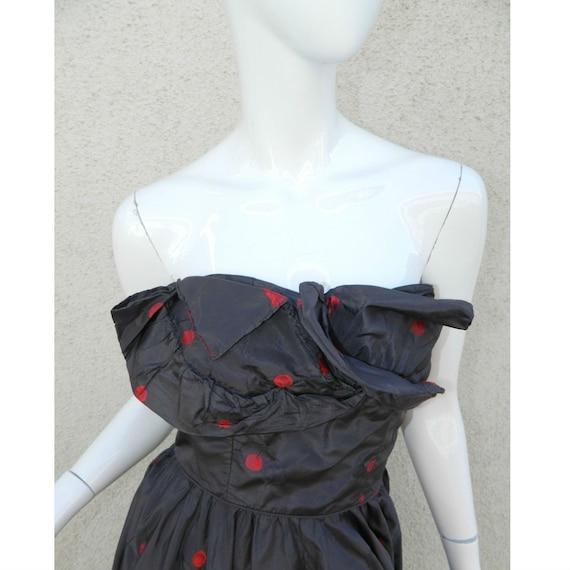 Rare CEIL CHAPMAN Dress Gown Blue Red Cherries Vi… - image 4