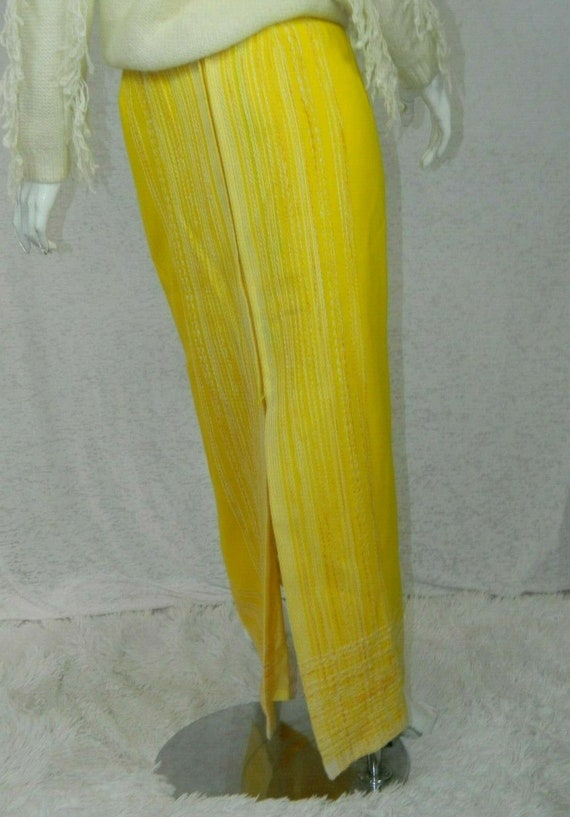 Arola Vintage Finland Skirt Yellow White Wool 70s