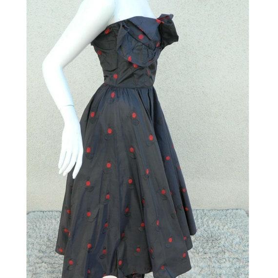 Rare CEIL CHAPMAN Dress Gown Blue Red Cherries Vi… - image 5