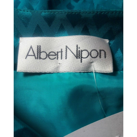 ALBERT NIPON Dress Turquoise 100% Silk Rhinestone… - image 7