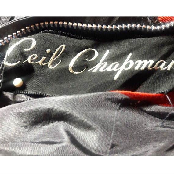 Rare CEIL CHAPMAN Dress Gown Blue Red Cherries Vi… - image 8