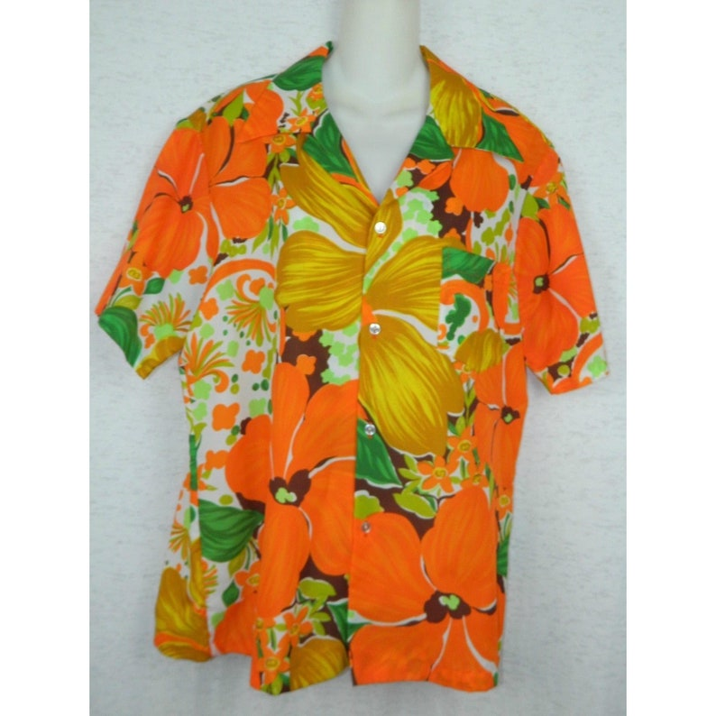 d240f518 Vintage Pomare Hawaiian Shirt Orange Green Psychedelic Mod   Etsy
