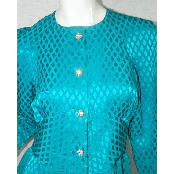 ALBERT NIPON Dress Turquoise 100% Silk Rhinestone… - image 5