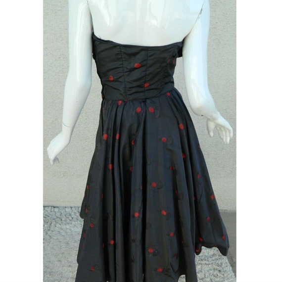 Rare CEIL CHAPMAN Dress Gown Blue Red Cherries Vi… - image 2
