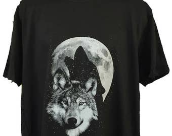 Wolf Moon Glow In The Dark Black Cotton T shirt