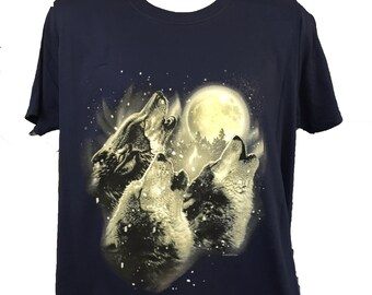 Three Howling In Harmony Wolves  Cotton T Shirt