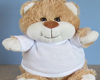 Personalised Printed Teddy Bear - Birthdays, Christmas Christening, Page Boy , Flower Girl, Photo and/or Message. Fluffy. Cute.